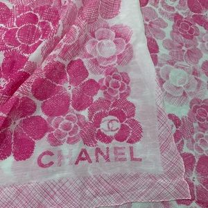 Chanel scarf wrap shawl pink white camellia flower